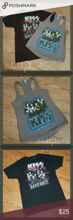 KISS Rock Band Tee Shirt Bundle One of America's most favorite rock bands, KISS. Rare signature tee from The Hard Rock Cafe and racer back tee from their 2014 concert tour series. Like new. Material is extremely soft and comfortable. PRICE IS FIRM.  NO OFFERS.   ??Smoke free home. Open to reasonable offers unless marked as firm.  Please no trades or low balls. Happy Poshing!!?? Tops Tees - Short Sleeve