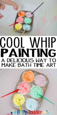 Cool Whip Painting: a delicious way to paint in the bathtub for toddlers.