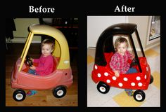 Upcycled Little Tikes Cozy Coupe Car to Minnie Mouse Car #forthekids #carlovers #futurehoseltoncustomers