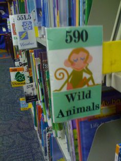 Children's Dewey Decimal shelf labels