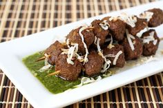 """Curried """"Beef"""" Kabobs with Jade Sauce - it's my idea to have a """"meatless"""" party without telling anyone it's meatless."""