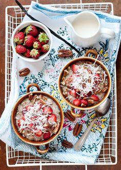 Buckwheat-Amaranth Porridge with Strawberries and Coconut