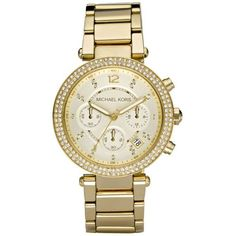 Michael Kors  Midsize Gold-Tone Stainless Steel Parker Glitz Watch (900 BRL) ❤ liked on Polyvore featuring jewelry, watches, accessories, bracelets, gold, polish jewelry, stainless steel jewellery, michael kors jewelry, gold tone jewelry and gold colored jewelry