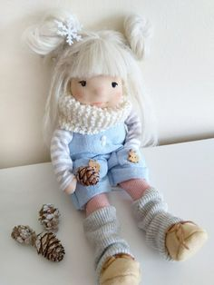 Emma 105 inches Waldorf inspired doll Christmas handmade | Etsy Cotton Tights, Cotton Scarf, Suri Alpaca, Pavlova, White Shoes, Handmade Christmas, Doll Clothes, Pure Products, Wool