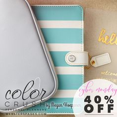 Cyber Monday Sale! Personal Planner Kit Teal & White Stripe 2017 Calendar Webster's Pages Color Crush