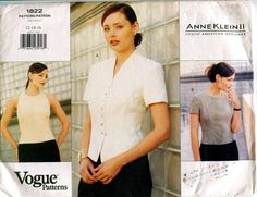 90s VOGUE BLOUSE PATTERN Fitted Blouses by DesignRewindFashions