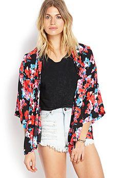 Frolic Kimono Cardigan - Red Floral Chiffon on Etsy, $34.00 ...