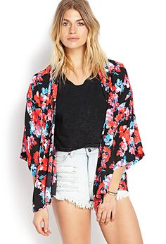 Everyone is gonna be wearing these chic Kimonos. #F21CRUSH Watercolor Floral Kimono Cardigan | FOREVER 21 - 2000063458