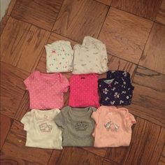 Set of 8 onsies mix of short and long sleeved. Mixed set of Carters and Small Wonders onsies. Never worn but laundered in Dreft detergent. Carters Other