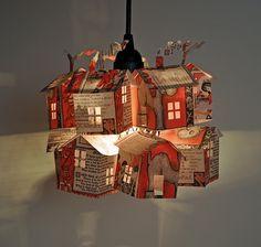hutch studio: Paper House Light Workshop How cute for a kid room! Karton Design, Paper Art, Paper Crafts, Paper Lamps, Paper Lantern, Cut Paper, Nachhaltiges Design, Paper Houses, Miniature Houses