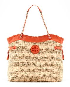 Tory Burch Marion Chain-Strap Straw Tote, Natural/Blue - Neiman Marcus
