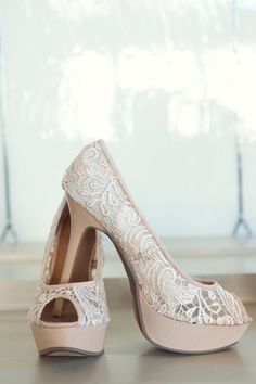 lace shoes in a blush hue