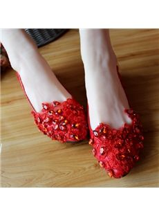 Nice Flower Rhinestone Bride Shoes