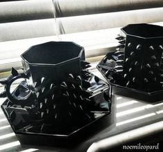 Limited exclusive Noémi spiked arcoroc noir tea or coffee cups with or without saucers, by NoemiLeopardArt. Metal af gift, each piece tagged