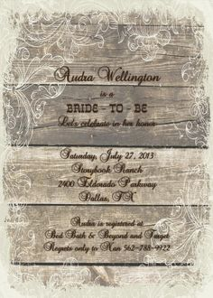 Country Rustic Bridal Shower Invitation  Wood by mycharmingprints, $0.85
