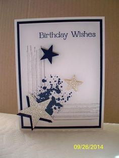 männliche Geburtstagskarte mit Sternen / male birthday card with stars - used Gorgeous Grunge - Stampin Up