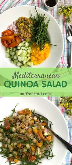 [Quinoa Salad Recipes] A bright and colourful summer-ready Quinoa Salad with cucumber, rocket, bell peppers and an Italian dressing with balsamic vinegar.
