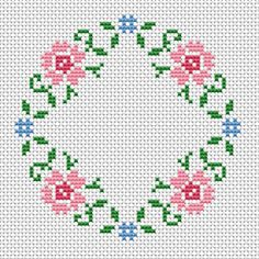 This floral cross stitch pattern is suitable for round napkins .It can also be used for cards if you add own text in the middle. Cross Stitch Beginner, Tiny Cross Stitch, Cross Stitch Bookmarks, Simple Cross Stitch, Cross Stitch Borders, Cross Stitch Charts, Cross Stitch Designs, Cross Stitching, Cross Stitch Embroidery