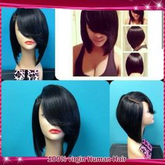 94.86$  Watch here - http://ali8ao.worldwells.pw/go.php?t=32397005165 - Glueless human hair wig full bangs Brazilian virgin hair lace front wig/short bob full lace wigs with baby hair for black women 94.86$