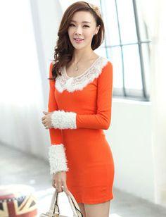 Faddish Orange Long Sleeve Dress for Women Fashion