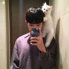 Korean, ulzzang, asian boy, cat, kitty