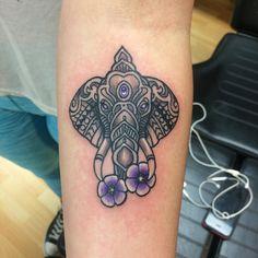 Fun little elephant today!  #tattoo #tattoos #elephanttattoo #flowertattoo #femininetattoos #narniatattoos by narniatattoos