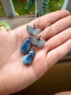 Kyanite and Silver Half Moon Dangle Earrings by sierrakeylin, $52.00