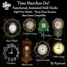 Continuing with the theme, Eight new functional, animated wall clocks.  They tell the current sim-time, the hands move and the pendulums swi...
