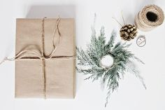 Add a tiny mini-wreath to holiday presents   DIY Décor: Christmas Wrapping Ideas