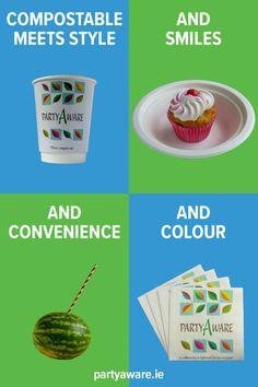 Compostable meets style and smiles and convenience and colour. Footprint, Compost, Feel Good, Party Supplies, Picnic, Colour, Tableware, Style, Color