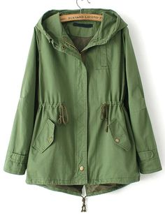Shop Green Hooded Drawstring Pockets Trench Coat online. SheIn offers Green Hooded Drawstring Pockets Trench Coat & more to fit your fashionable needs.