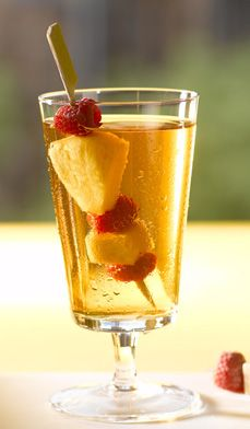 Raspberry Iced Tea with Frozen Fruit Sticks - Want to serve an extra-special flavored iced tea instead of the usual
