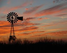 Texas Windmill Paintings | Sunset Windmill South Texas by Talloula