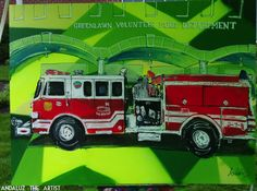 Dedicated to my shops local fire department, live painting of Greenlawns Firetruck. Done by Andaluz The Artist  #firetruck #red #truck #fire #andaluz #the #artist #abstract #live #painting #detailed