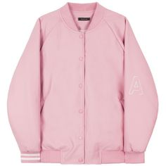 HIDE AND SEEKFaux Leather Varsity Jacket | mixxmix ($28) ❤ liked on Polyvore featuring outerwear, jackets, clothing - jackets, coats, pink letterman jacket, embroidered jacket, varsity letter jackets, real leather jackets and pink leather jacket