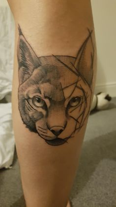 Half geometric lynx on my leg; done by tomek k rocknroll musselborough GB