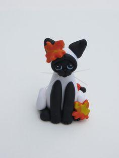 Polymer Clay Black White Siamese Cat Christmas by HeartOfClayGirl, $16.95