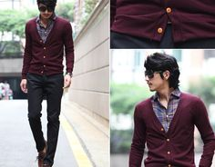 Crasian with a cool cardigan/button up combo.