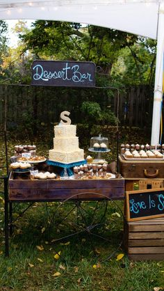 Wedding Cake, Vintage/Rustic Display-kind of like this-it matches the bar
