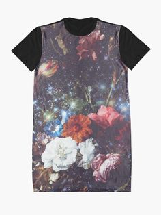 """""""Flowers Vintage Sparkly Aesthetic"""" Graphic T-Shirt Dress by ind3finite 