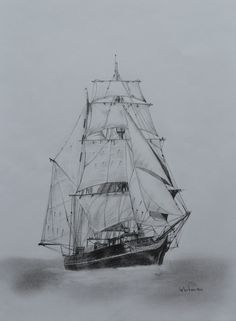 $180 Tres hombres sail ship, tall ship sketch. Original art, graphite pencil drawing by Elena Whitman. Beautiful cutter from Sierra Leone.