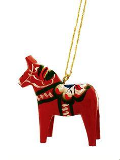 "Red Dala Horse Christmas Ornament - 2"""