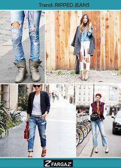 Na melhor que começar o dia com uma super trend! O ripped jeans é o nosso famoso jeans rasgadão. Tendência inspirada nos anos 70 voltou com tudo e está bombando novamente!