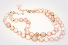 Deco two stranded necklace. Light pink chunk round glass beads.