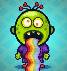 Zombie puking rainbows! ^.^ Rainbows, Rainbow