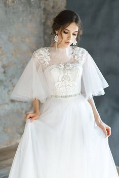 AVRELIA / Pearl Wedding Dress With Rich Beautiful Hand Embroidery Lace Low  Back Corset Wedding Gown Ethereal Tulle Bridal Gown Short Sleeves