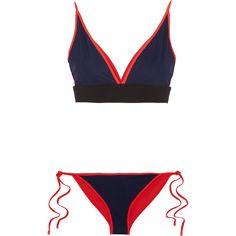 Jonathan Simkhai Reversible bonded jersey triangle bikini (15.415 RUB) ❤ liked on Polyvore featuring swimwear, bikinis, bikini, midnight blue, color block bikini, colour block bikini, triangle bikini swimwear, bikini two piece and tie-dye swimwear