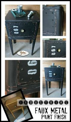 Industrial Faux Metal Nightstand - DIY tutorial showing how to make plain wood furniture look like it has an industrial metal design.
