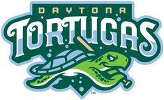 Daytona Tortugas Primary Logo (2015) - A turtle holding a baseball bat as it swims below the team name on green