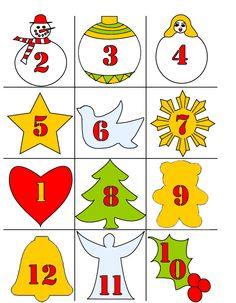 etiquettes décorées de motifs de noël pour calendrier de l'avent